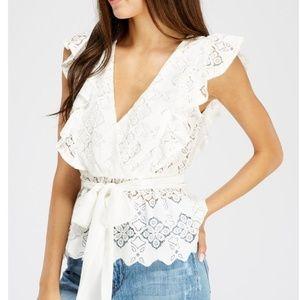 Brand-new Sleeveless Lace Blouse White
